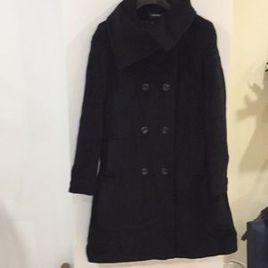 New Searle black Italian wool pea coat 8